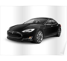 Black Tesla Model S red luxury electric car art photo print Poster