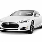 White Tesla Model S luxury electric car art photo print by ArtNudePhotos