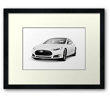 White Tesla Model S luxury electric car art photo print Framed Print