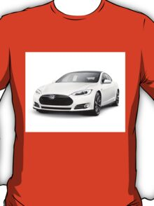 White Tesla Model S luxury electric car art photo print T-Shirt