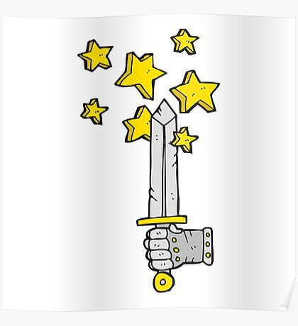 cartoon hand holding magic sword Poster