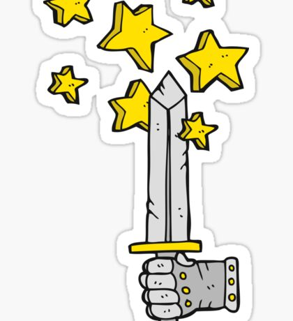 cartoon hand holding magic sword Sticker