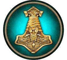 Norse Thor's Hammer - Teal Photographic Print