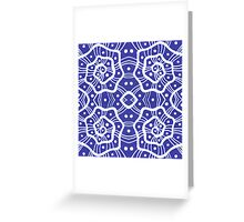 Whte helices on ultramarine, abstract hand drawn pattern Greeting Card