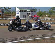 Classic SideCars - Triumph leads the Honda Photographic Print
