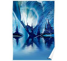 Subterranean Castles wax painting in blue Poster