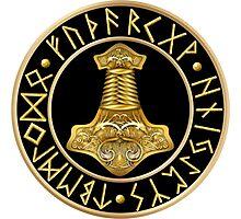 Norse Thor's Hammer Runes - Black Photographic Print