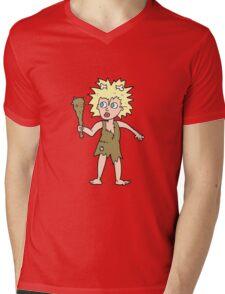 cartoon cave woman Mens V-Neck T-Shirt