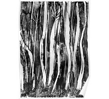 Spooky trees wax painting in black and white by UK artist Poster