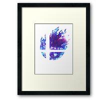 Super Smash Bros. Logo - Blue Framed Print