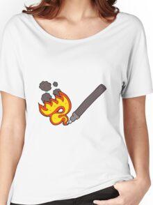 cartoon flaming pen Women's Relaxed Fit T-Shirt