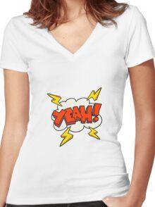 Yeah! Cartoon symbol Women's Fitted V-Neck T-Shirt