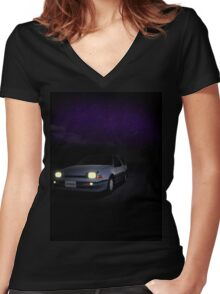Night Nissan N13 EXA Women's Fitted V-Neck T-Shirt
