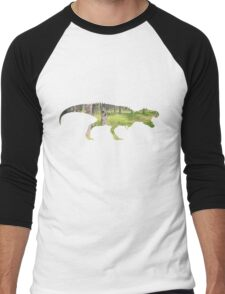 Dino green wood silhouette, Dinosaur in the Forest T-shirt Men's Baseball ¾ T-Shirt
