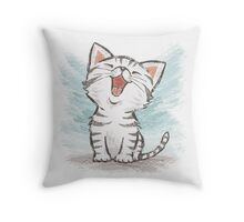 American Shorthair happy Throw Pillow