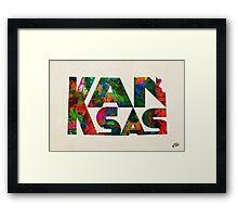 Kansas Typographic Watercolor Map Framed Print