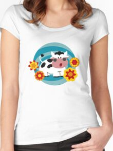 Psychedelic Cow Women's Fitted Scoop T-Shirt