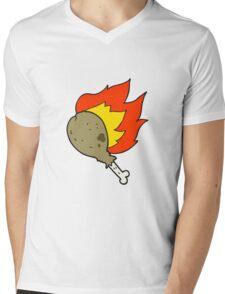 cartoon chicken leg Mens V-Neck T-Shirt