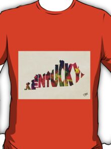 Kentucky Typographic Watercolor Map T-Shirt