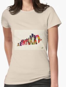 Kentucky Typographic Watercolor Map Womens Fitted T-Shirt