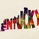 Kentucky Typographic Watercolor Map by A. TW