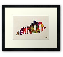 Kentucky Typographic Watercolor Map Framed Print