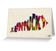 Kentucky Typographic Watercolor Map Greeting Card