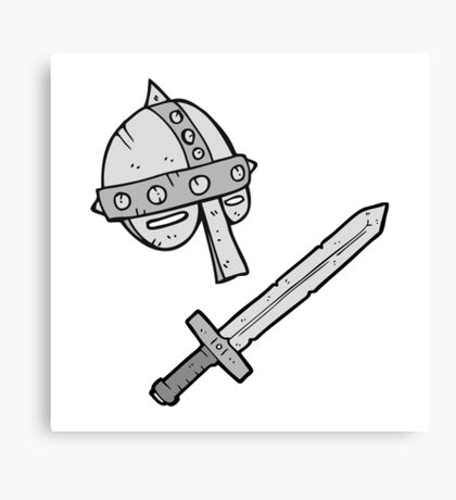 cartoon medieval helmet Canvas Print