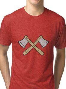 cartoon crossed axes Tri-blend T-Shirt