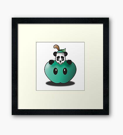 Panda in the Big Teal Apple Framed Print