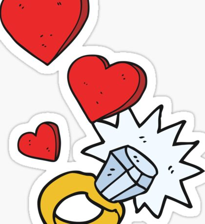 cartoon diamond engagement ring Sticker