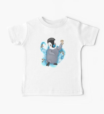 Winter Penguin holding a coffee Baby Tee