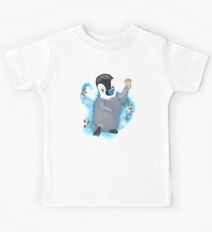 Winter Penguin holding a coffee Kids Tee