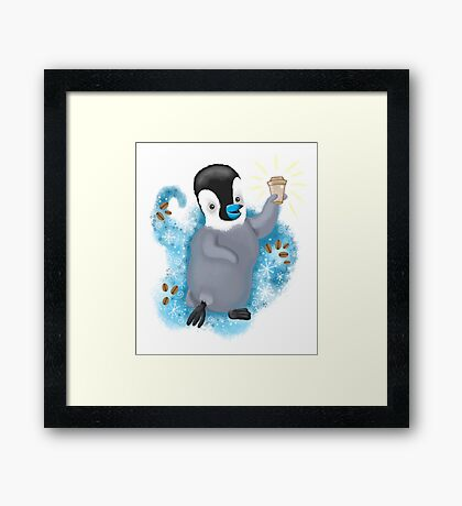 Winter Penguin holding a coffee Framed Print
