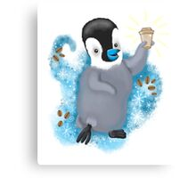 Winter Penguin holding a coffee Canvas Print