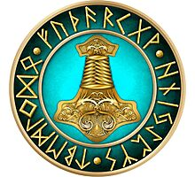 Norse Thor's Hammer Runes - Teal Photographic Print