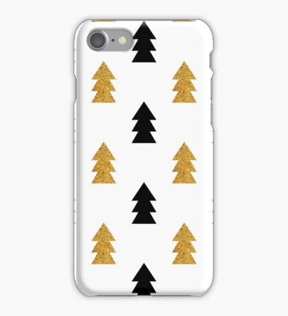 Christmas trees pattern gold and black iPhone Case/Skin
