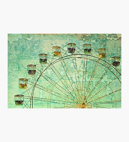 Vintage grunge effect ferris wheel at twilight Photographic Print