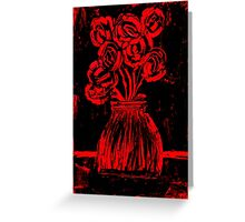 Roses in red and black wax painting Greeting Card