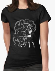 I Wanna Be Yours- White Print Womens Fitted T-Shirt