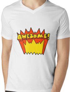 cartoon awesome word Mens V-Neck T-Shirt