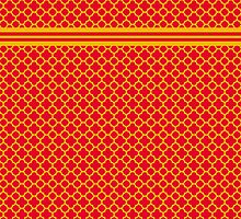 Red and Gold Quatrefoil Pattern by Greenbaby