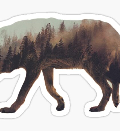 Double exposure wolf Sticker