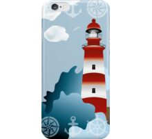 Lighthouse on unsteady coastline - Adventure holidays background illustration iPhone Case/Skin