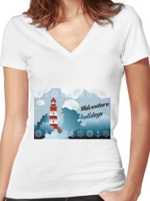 Lighthouse on unsteady coastline - Adventure holidays background illustration Women's Fitted V-Neck T-Shirt
