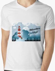 Lighthouse on unsteady coastline - Adventure holidays background illustration Mens V-Neck T-Shirt