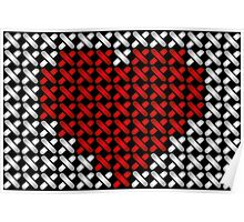 Embroidered heart illustration with red heart in cross-stiches on black Poster