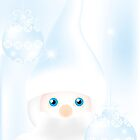 Mister Frost - beautiful illustration in cold-blue with man and Christmas baubles on frosty background by schtroumpf2510