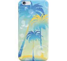 Tropical island - illustration with palm trees and bubbles  iPhone Case/Skin