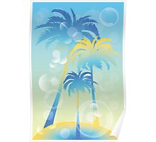 Tropical island - illustration with palm trees and bubbles  Poster